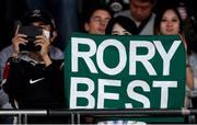 19 October 2019; A supporter with a Rory Best sign during the 2019 Rugby World Cup Quarter-Final match between New Zealand and Ireland at the Tokyo Stadium in Chofu, Japan. Photo by Ramsey Cardy/Sportsfile
