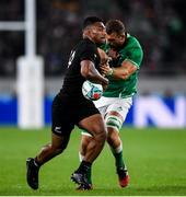 19 October 2019; Sevu Reece of New Zealand is tackled by Tadhg Beirne of Ireland during the 2019 Rugby World Cup Quarter-Final match between New Zealand and Ireland at the Tokyo Stadium in Chofu, Japan. Photo by Ramsey Cardy/Sportsfile