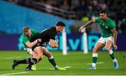 19 October 2019; George Bridge of New Zealand is tackled by Keith Earls of Ireland during the 2019 Rugby World Cup Quarter-Final match between New Zealand and Ireland at the Tokyo Stadium in Chofu, Japan. Photo by Ramsey Cardy/Sportsfile