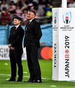 20 October 2019; Japan head coach Jamie Joseph, centre, with Japan assistant coach Tony Brown prior to the 2019 Rugby World Cup Quarter-Final match between Japan and South Africa at the Tokyo Stadium in Chofu, Japan. Photo by Brendan Moran/Sportsfile