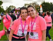 20 October 2019; Eilís Eagers, left, and Róisín Byrne, from Carlow, following the Great Pink Run with Glanbia, which took place in Kilkenny Castle Park on Sunday, October 20th 2019. Over 10,000 men, women and children took part in both the 10K challenge and the 5K fun run across three locations, raising over €600,000 to support Breast Cancer Ireland's pioneering research and awareness programmes. The Dublin Great Pink Run took place on Saturday, 19th October in the Phoenix Park and the inaugural Chicago run took place on October, 5th in Diversey Harbor. For more information go to www.breastcancerireland.com. Photo by Seb Daly/Sportsfile