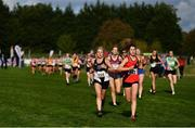 20 October 2019; Laura Mathews of North East Runners A.C., Co. Louth, competing in the F35 6000m XC event, left, and Aoife Coffey of Lucan Harriers A.C., Co. Dublin, competing in the Junior Women 4500m XC event, during the SPAR Autumn Open International Cross Country Festival at the National Sports Campus Abbotstown in Dublin. Photo by Sam Barnes/Sportsfile