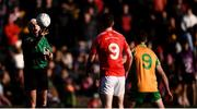 20 October 2019; Referee Gearóid Ó Conámha throws the ball in between Paul Collins of Tuam Stars and Ronan Steede of Corofin during the Galway County Senior Club Football Championship Final match between Corofin and Tuam Stars at Tuam Stadium in Galway. Photo by Stephen McCarthy/Sportsfile