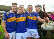 20 October 2019;  St Rynagh's players, from left, Stephen Wynne, Stephen Quirke and Ronan Hughes celebrate following the Offaly County Senior Club Hurling Championship Final match between Birr and St Rynaghs at O'Connor Park in Tullamore, Offaly. Photo by Harry Murphy/Sportsfile