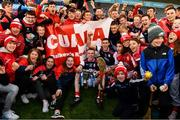 20 October 2019; The Cuala captain Colm Cronin, team-mates and supporters with the New Ireland Insurance Cup after the Dublin County Senior Club Hurling Campionship Final match between Cuala and St Brigids GAA at Parnell Park in Dublin. Photo by Ray McManus/Sportsfile