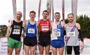 20 October 2019; In attendance at the medal presentation for the Senior Men's 7500m XC event are, from left, Kevin Maunsell of Clonmel AC, Co. Tipperary, fifth, James Gormley of England, silver, Conor Bradley of City of Derry Spartans AC, Co. Derry, gold, Liam Brady of Tullamore Harriers A.C., Co. Offaly, bronze, Matt Bergin of Dundrum South Dublin AC, fourth, during the SPAR Autumn Open International Cross Country Festival at the National Sports Campus Abbotstown in Dublin. Photo by Sam Barnes/Sportsfile