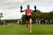 20 October 2019; Conor Bradley of City of Derry Spartans AC celebrates as he crosses the line to win the Senior Men's 7500m XC event during the SPAR Autumn Open International Cross Country Festival at the National Sports Campus Abbotstown in Dublin. Photo by Sam Barnes/Sportsfile