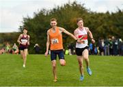 20 October 2019; Cormac Macdermott of Moy Valley A.C., Co. Mayo, left, and Jack Maher of Galway City Harriers, Co. Galway, competing in the Junior Men 6000m XC event during the SPAR Autumn Open International Cross Country Festival at the National Sports Campus Abbotstown in Dublin. Photo by Sam Barnes/Sportsfile