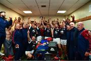 20 October 2019; Members of the Cuala squad celebrate in the dressing room after the Dublin County Senior Club Hurling Campionship Final match between Cuala and St Brigids GAA at Parnell Park in Dublin. Photo by Ray McManus/Sportsfile