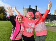 20 October 2019; Marie Haslam, Theresa Daniels and Catherine Daniels from Carbury, Kildare ahead of the Great Pink Run with Glanbia, which took place in Kilkenny Castle Park on Sunday, October 20th 2019. Over 10,000 men, women and children took part in both the 10K challenge and the 5K fun run across three locations, raising over €600,000 to support Breast Cancer Ireland's pioneering research and awareness programmes. The Dublin Great Pink Run took place on Saturday, 19th October in the Phoenix Park and the inaugural Chicago run took place on October, 5th in Diversey Harbor. For more information go to www.breastcancerireland.com. Photo by Seb Daly/Sportsfile