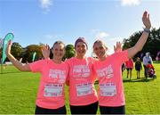 20 October 2019; Niamh Kavanagh, Patricia Creery and Amanda McDonald, from Stradbally and Portlaoise, Laois, ahead of the Great Pink Run with Glanbia, which took place in Kilkenny Castle Park on Sunday, October 20th 2019. Over 10,000 men, women and children took part in both the 10K challenge and the 5K fun run across three locations, raising over €600,000 to support Breast Cancer Ireland's pioneering research and awareness programmes. The Dublin Great Pink Run took place on Saturday, 19th October in the Phoenix Park and the inaugural Chicago run took place on October, 5th in Diversey Harbor. For more information go to www.breastcancerireland.com. Photo by Seb Daly/Sportsfile