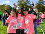 20 October 2019; Martha O'Rourke, Breda O'Rouke and Theresa Delaney, from Laois, ahead of the Great Pink Run with Glanbia, which took place in Kilkenny Castle Park on Sunday, October 20th 2019. Over 10,000 men, women and children took part in both the 10K challenge and the 5K fun run across three locations, raising over €600,000 to support Breast Cancer Ireland's pioneering research and awareness programmes. The Dublin Great Pink Run took place on Saturday, 19th October in the Phoenix Park and the inaugural Chicago run took place on October, 5th in Diversey Harbor. For more information go to www.breastcancerireland.com. Photo by Seb Daly/Sportsfile