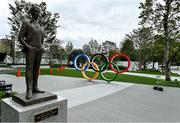 21 October 2019; A statue of Pierre De Coubertin, founder of the International Olympic Committee, is seen outside the Japanese Olympic Museum and the Tokyo Olympic Stadium ahead of the 2020 Tokyo Summer Olympic Games. The Tokyo 2020 Games of the XXXII Olympiad take place from Friday 24th July to Sunday 9th August 2020 in Tokyo, Japan, the second Summer Olympics Games to be held in Tokyo, the first being 1964. Photo by Brendan Moran/Sportsfile
