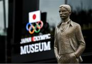 21 October 2019; A statue of Pierre De Coubertin, founder of the International Olympic Committee, is seen outside the Japanese Olympic Museum and the Tokyo Olympic Stadium ahead of the 2020 Tokyo Summer Olympic Games. The Tokyo 2020 Games of the XXXII Olympiad take place from Friday 24th July to Sunday 9th August 2020 in Tokyo, Japan, the second Summer Olympics Games to be held in Tokyo, the first being 1964. Photo by Ramsey Cardy/Sportsfile