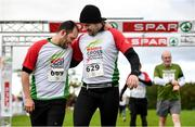 20 October 2019; Joao Luna, left, and Dean Higgins cross the finish line during the SPAR Cross Country Xperience at the National Sports Campus Abbotstown in Dublin. Photo by Sam Barnes/Sportsfile