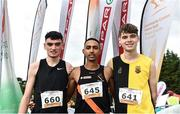20 October 2019; In attendance at the medal presentation for the Junior Men's 6000m XC event are, from left, Keelan Kilrehill of Moy Valley A.C., Co. Mayo, silver, Eferm Gidey of Clonliffe Harriers A.C., Co. Dublin, gold, and Shay McEvoy of Kilkenny City Harriers, Co. Kilkenny, bronze, during the SPAR Autumn Open International Cross Country Festival at the National Sports Campus Abbotstown in Dublin. Photo by Sam Barnes/Sportsfile