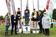 20 October 2019; In attendance at the medal presentation for the Junior Men's 6000m XC event are, from left, Emer O'Gorman, Director of Services, Fingal County Council, Cllr Eoghan O'Brien, Mayor of Fingal, Keelan Kilrehill of Moy Valley A.C., Co. Mayo, silver, Eferm Gidey of Clonliffe Harriers A.C., Co. Dublin, gold, Shay McEvoy of Kilkenny City Harriers, Co. Kilkenny, bronze, Colin Donnelly, Spar Sales Director and Georgina Drumm, President, Athletics Ireland, during the SPAR Autumn Open International Cross Country Festival at the National Sports Campus Abbotstown in Dublin. Photo by Sam Barnes/Sportsfile
