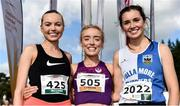 20 October 2019; In attendance at the medal presentation for the Junior Women's 4500m XC event are, from left,  Jodie McCann of Dublin City Harriers, Co. Dublin, silver, Grace Carson of Northern Ireland, gold, Danielle Donegan of Tullamore Harriers AC, Co. Offaly, bronze during the SPAR Autumn Open International Cross Country Festival at the National Sports Campus Abbotstown in Dublin. Photo by Sam Barnes/Sportsfile
