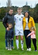 21 October 2019; Cathal Heffernan of Republic of Ireland with his parents Rob and Marian and siblings Regan and Tara after the Under-15 UEFA Development Tournament match between Republic of Ireland and Luxembourg at Ballina Town FC in Mayo. Photo by Piaras Ó Mídheach/Sportsfile