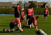 21 October 2019; Jed Holloway and Brian Scott tie their boot laces prior to Munster Rugby squad training at the University of Limerick in Limerick. Photo by Diarmuid Greene/Sportsfile
