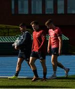 21 October 2019; Calvin Nash, Neil Cronin and Liam Coombes arrive for Munster Rugby squad training at the University of Limerick in Limerick. Photo by Diarmuid Greene/Sportsfile