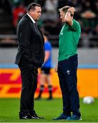 19 October 2019; Ireland head coach Joe Schmidt, right, greets New Zealand head coach Steve Hansen prior to the 2019 Rugby World Cup Quarter-Final match between New Zealand and Ireland at the Tokyo Stadium in Chofu, Japan. Photo by Brendan Moran/Sportsfile