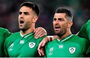 19 October 2019; Ireland players Conor Murray and an emotional Rob Kearney during Ireland's Call prior to the 2019 Rugby World Cup Quarter-Final match between New Zealand and Ireland at the Tokyo Stadium in Chofu, Japan. Photo by Brendan Moran/Sportsfile