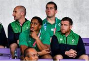 19 October 2019; Bundee Aki, left, and Sean Cronin of Ireland sit in the stands during the 2019 Rugby World Cup Quarter-Final match between New Zealand and Ireland at the Tokyo Stadium in Chofu, Japan. Photo by Brendan Moran/Sportsfile