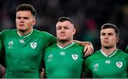 19 October 2019; Ireland players, from left, Jacob Stockdale, Dave Kilcoyne and Luke McGrath during Ireland's Call prior to the 2019 Rugby World Cup Quarter-Final match between New Zealand and Ireland at the Tokyo Stadium in Chofu, Japan. Photo by Brendan Moran/Sportsfile