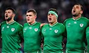 19 October 2019; Ireland players, from left, Robbie Henshaw, Garry Ringrose, CJ Stander and Tadhg Beirne during Ireland's Call prior to the 2019 Rugby World Cup Quarter-Final match between New Zealand and Ireland at the Tokyo Stadium in Chofu, Japan. Photo by Brendan Moran/Sportsfile