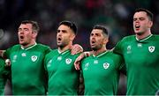 19 October 2019; Ireland players, from left, Peter O'Mahony, Conor Murray, Rob Kearney and James Ryan during Ireland's Call prior to the 2019 Rugby World Cup Quarter-Final match between New Zealand and Ireland at the Tokyo Stadium in Chofu, Japan. Photo by Brendan Moran/Sportsfile