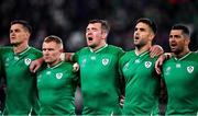 19 October 2019; Ireland players, from left, Jonathan Sexton, Keith Earls, Peter O'Mahony, Conor Murray and Rob Kearney during Ireland's Call prior to the 2019 Rugby World Cup Quarter-Final match between New Zealand and Ireland at the Tokyo Stadium in Chofu, Japan. Photo by Brendan Moran/Sportsfile
