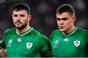 19 October 2019; Ireland players, from left, Robbie Henshaw, left, and Garry Ringrose during Ireland's Call prior to the 2019 Rugby World Cup Quarter-Final match between New Zealand and Ireland at the Tokyo Stadium in Chofu, Japan. Photo by Brendan Moran/Sportsfile