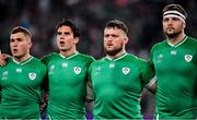 19 October 2019; Ireland players, from left, Jordan Larmour, Joey Carbery, Andrew Porter and Iain Henderson during Ireland's Call prior to the 2019 Rugby World Cup Quarter-Final match between New Zealand and Ireland at the Tokyo Stadium in Chofu, Japan. Photo by Brendan Moran/Sportsfile