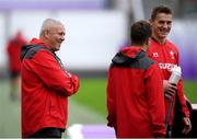 22 October 2019; Head coach Warren Gatland, left, shares a joke with Jonathan Davies during Wales rugby squad training at the Prince Chichibu Memorial Rugby Ground in Tokyo, Japan. Photo by Ramsey Cardy/Sportsfile