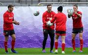 22 October 2019; Dan Biggar, left, George North, centre, and Liam Williams during Wales rugby squad training at the Prince Chichibu Memorial Rugby Ground in Tokyo, Japan. Photo by Ramsey Cardy/Sportsfile