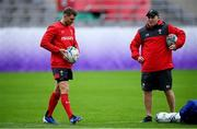 22 October 2019; Dan Biggar, left, and skills coach Neil Jenkins during Wales rugby squad training at the Prince Chichibu Memorial Rugby Ground in Tokyo, Japan. Photo by Ramsey Cardy/Sportsfile