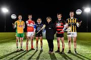 22 October 2019; In attendance during the AIB GAA Club Championships Launch are, from left, Corofin and former Galway footballer Gary Sice, Cuala and Dublin hurler Sean Moran, Sarsfields and Cork camogie player Niamh O'Callaghan, former St Paul's and Lisdowney camogie player, and former Kilkenny camogie manager, Ann Downey, Ballygunner hurler Dessie Hutchinson and Crossmaglen Rangers and Armagh footballer Oisin O'Neill at the launch of the AIB Camogie and Club Championship. This is AIB's 29th year sponsoring the AIB GAA Football, Hurling and their 7th year sponsoring the Camogie Club Championships. For exclusive content and behind the scenes action throughout the AIB GAA & Camogie Club Championships follow AIB GAA on Facebook, Twitter, Instagram, and Snapchat. Photo by Sam Barnes/Sportsfile