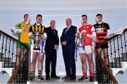 22 October 2019; In attendance during the AIB GAA Club Championships Launch are, from left, Corofin and former Galway footballer Gary Sice, Crossmaglen Rangers and Armagh footballer Oisin O'Neill, AIB Head of Retail Banking Denis O'Callaghan, Uachtarán Chumann Lúthcleas John Horan, Cuala and Dublin hurler Sean Moran, and Ballygunner hurler Dessie Hutchinson at Wilson Hartnell on Ely Place in Dublin. This is AIB's 29th year sponsoring the AIB GAA Football, Hurling and their 7th year sponsoring the Camogie Club Championships. For exclusive content and behind the scenes action throughout the AIB GAA & Camogie Club Championships follow AIB GAA on Facebook, Twitter, Instagram, and Snapchat. Photo by Sam Barnes/Sportsfile