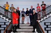 22 October 2019; In attendance during the AIB GAA Club Championships Launch are, from left, Corofin and former Galway footballer Gary Sice, Crossmaglen Rangers and Armagh footballer Oisin O'Neill, AIB Head of Retail Banking Denis O'Callaghan, President of The Camogie Association Kathleen Woods, Sarsfields and Cork camogie player Niamh O'Callaghan, former St Paul's and Lisdowney camogie player, and former Kilkenny camogie manager, Ann Downey, Uachtarán Chumann Lúthcleas John Horan, AIB Public Affairs Manager Maol Muire Tynan, Cuala and Dublin hurler Sean Moran, and Ballygunner hurler Dessie Hutchinson at Wilson Hartnell on Ely Place in Dublin. This is AIB's 29th year sponsoring the AIB GAA Football, Hurling and their 7th year sponsoring the Camogie Club Championships. For exclusive content and behind the scenes action throughout the AIB GAA & Camogie Club Championships follow AIB GAA on Facebook, Twitter, Instagram, and Snapchat. Photo by Sam Barnes/Sportsfile