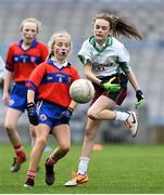 22 October 2019; Keelin Murphy of St Patrick's GNS Hollypark Blackrock in action against Amelia McKay of Belgrove Senior GNS Clontarf in the match between St Patrick's GNS Hollypark Blackrock and Belgrove Senior GNS Clontarf during day one of the Allianz Cumann na mBunscol finals at Croke Park in Dublin. Photo by Matt Browne/Sportsfile