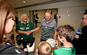 22 October 2019; Head coach Joe Schmidt is greeted by supporters on the Ireland Rugby Team's return at Dublin Airport from the Rugby World Cup. Photo by David Fitzgerald/Sportsfile
