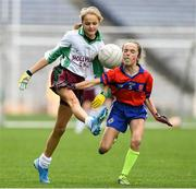 22 October 2019; Zara Kos of St Patrick's GNS Hollypark Blackrock in action against Clara Woods of Belgrove Senior GNS Clontarf in the match between St Patrick's GNS Hollypark Blackrock and Belgrove Senior GNS Clontarf during day one of the Allianz Cumann na mBunscol finals at Croke Park in Dublin. Photo by Matt Browne/Sportsfile