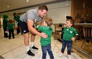 22 October 2019; Seán Cronin is greeted by his sons Finn and Cillian on the Ireland Rugby Team's return at Dublin Airport from the Rugby World Cup. Photo by David Fitzgerald/Sportsfile
