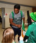 22 October 2019; Bundee Aki is greeted by supporters on the Ireland Rugby Team's return at Dublin Airport from the Rugby World Cup. Photo by David Fitzgerald/Sportsfile