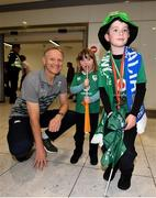 22 October 2019; Head coach Joe Schmidt is greeted by supporters Luke, age 9, and Lauren Thomas, age 4, from Newry on the Ireland Rugby Team's return at Dublin Airport from the Rugby World Cup. Photo by David Fitzgerald/Sportsfile