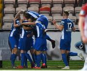 22 October 2019; St Patrick's Athletic players celebrate after their side's second goal scored by James Doona during the SSE Airtricity League Premier Division match between Derry City and St Patrick's Athletic at Ryan McBride Brandywell Stadium in Derry. Photo by Oliver McVeigh/Sportsfile