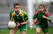 23 October 2019; Ashley Trusler of Our Lady Queen of the Apostles NS, Clonburris, in action against St Raphaela's PS, Stillorgan, in the Corn na Chladaigh Shield Final during day two of the Allianz Cumann na mBunscol Finals at Croke Park in Dublin. Photo by Piaras Ó Mídheach/Sportsfile