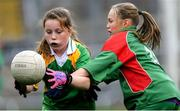 23 October 2019; Ella Curran of Our Lady Queen of the Apostles NS, Clonburris, in action against Hannah McCormack of St Raphaela's PS, Stillorgan, in the Corn na Chladaigh Shield Final during day two of the Allianz Cumann na mBunscol Finals at Croke Park in Dublin. Photo by Piaras Ó Mídheach/Sportsfile