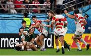 20 October 2019; Cheslin Kolbe of South Africa injures his ankle in a tackle during the 2019 Rugby World Cup Quarter-Final match between Japan and South Africa at the Tokyo Stadium in Chofu, Japan. Photo by Brendan Moran/Sportsfile